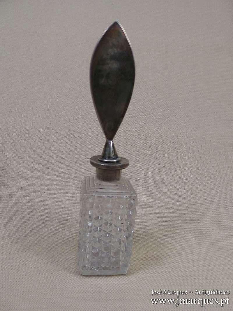 Frasco cristal e prata