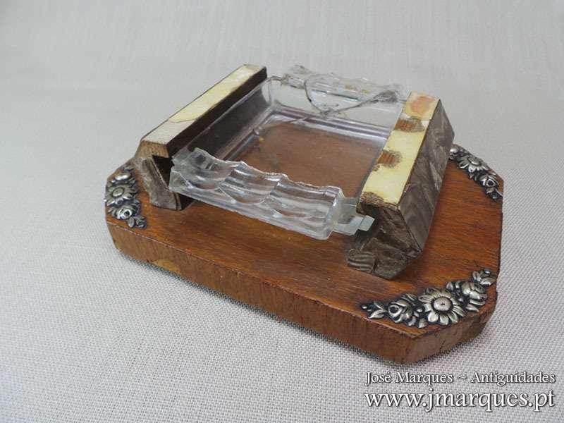 Cinzeiro madeira/prata