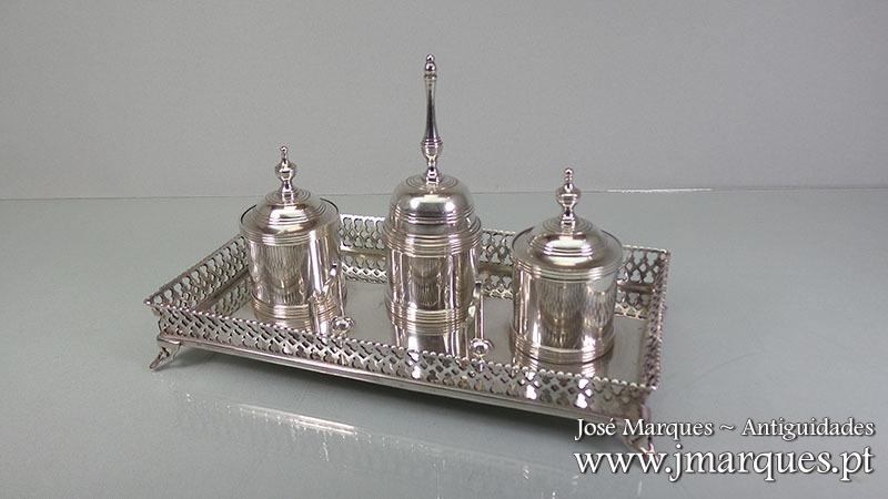 Tinteiro prata completo